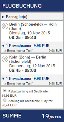 Ryanair Beispiel Buchung