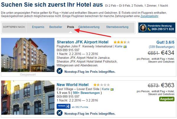 Hotels sortieren nach Preis