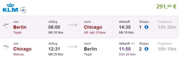 Beispielbuchung Berlin - Chicago