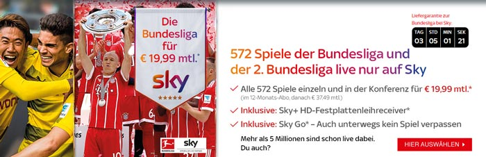 Sky Bundesliga Abo + 50€ Amazon Gutschein