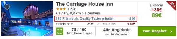 Trivago Hoteltester Prämie