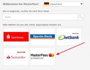 MasterPass Zahlung Bank wählen