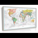 Rubbel Weltkarte auf Pinnwand (90 x 60 cm) + 20x Markierungsfahnen für 15,92€