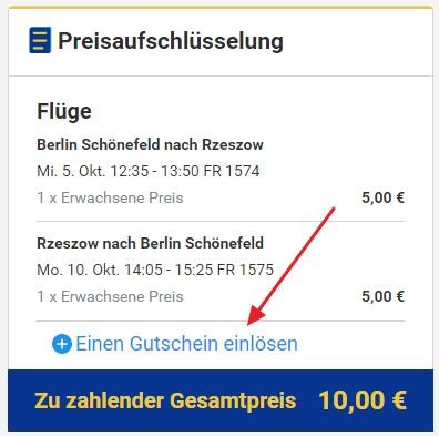 Ryanair Beispielbuchung