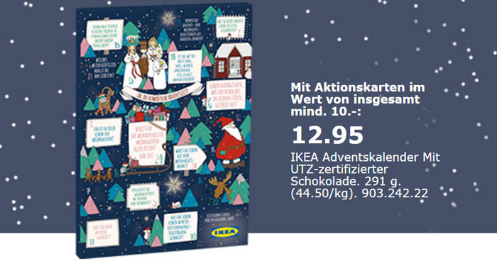ikea adventskalender mit mind 10 aktionskarten f r 12 95. Black Bedroom Furniture Sets. Home Design Ideas