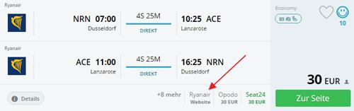 Ryanair Buchung Momondo