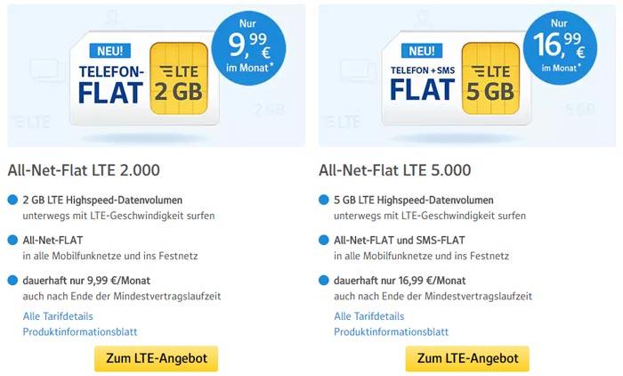 1&1 All-Net-Flat LTE 2.000 Tarif
