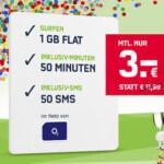 o2 Smart Surf Tarif (1 GB Internet + 50 Freiminuten) für 3€/Monat!