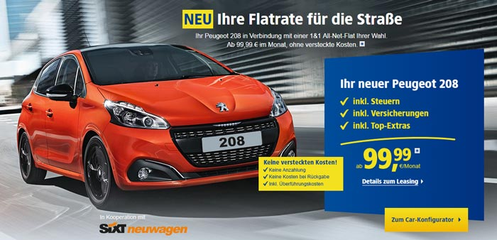 1&1 All-Net-Flat + Peugeot 208 Leasing