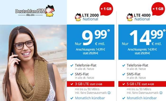 DeutschlandSIM LTE 2000 oder 4000