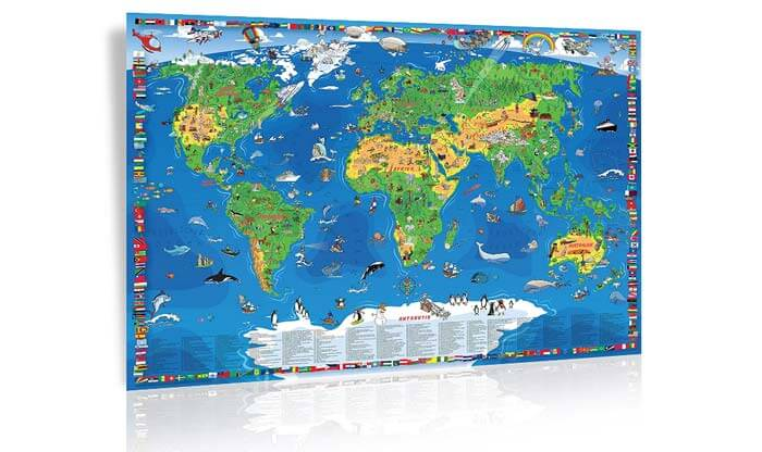 Laminierte Weltkarte Kinder