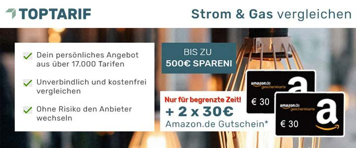 Toptarif Strom & Gas + 20€ Amazon Gutschein