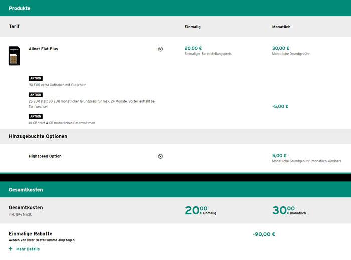 Congstar Allnet Flat Plus + LTE & Gutschein