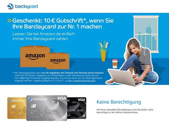 Barclaycard keine Berechtigung