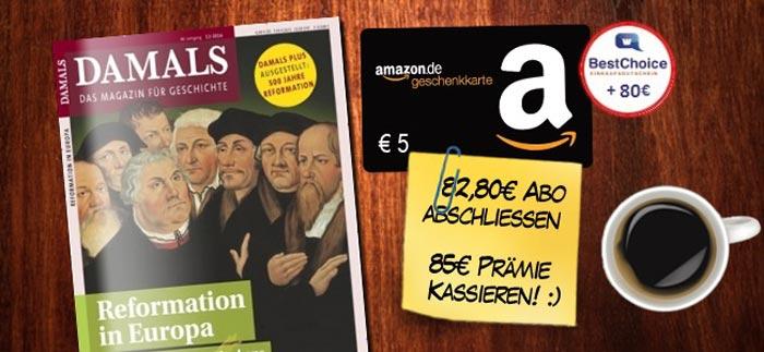 """Jahresabo """"Damals"""" + Amazon Gutschein"""