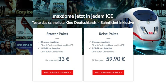 Maxdome Bahn Angebot