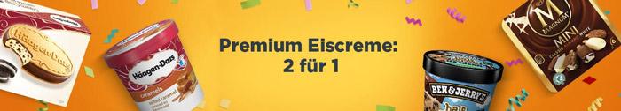 2 für 1 Premium Eiscreme Aktion
