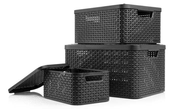 3x curver aufbewahrungsboxen 39 style 39 im rattan design f r. Black Bedroom Furniture Sets. Home Design Ideas