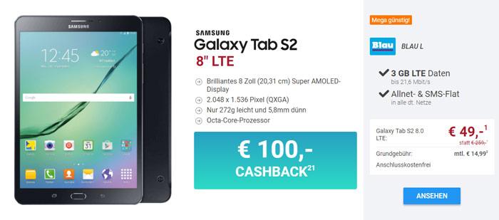 Samsung Galaxy Tab S2 LTE + Blau Allnet L Tarif
