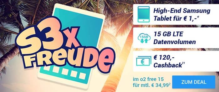 o2 Free 15 Flat + Samsung Galaxy Tab S3