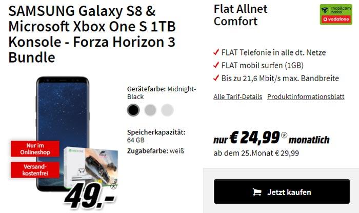 Vodafone Comfort Allnet Flat + Galaxy S8 + XBOX One S
