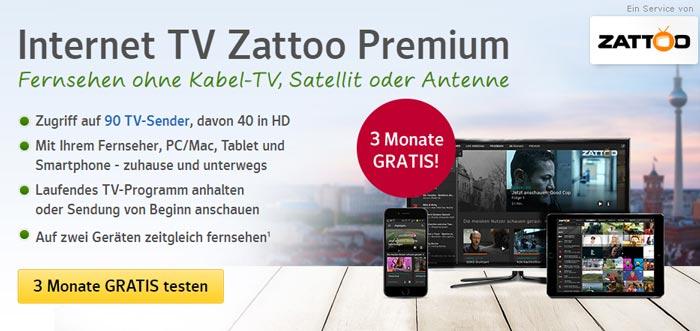 3 Monate Zattoo Premium kostenlos