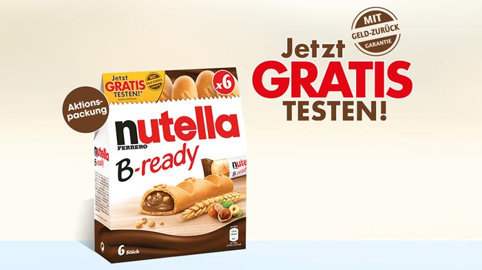 Nutella b-ready Sticks gratis