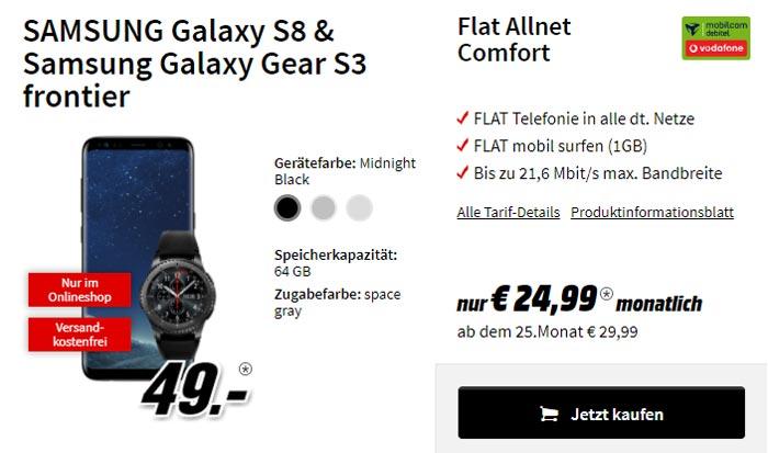 Vodafone Comfort Allnet Tarif + Galaxy S8 + Gear S3 frontier