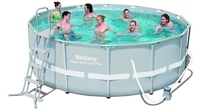 bestway frame pool power steel mit filterpumpe f r 166 40. Black Bedroom Furniture Sets. Home Design Ideas
