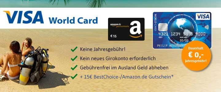 ICS Visa World Card + 15€ Amazon Gutschein