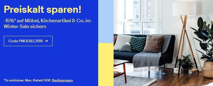 eBay Gutschein auf Möbel, Küchenartikel & Deko