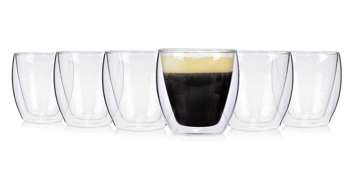 Doppelwandige Café Gläser