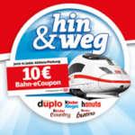 Ferrero Bahn Aktion: 10€ Bahn Gutschein in hanuta, kinder & duplo Aktionspackungen