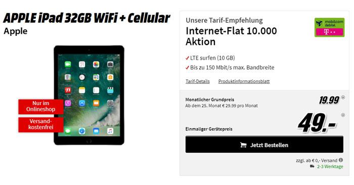 apple ipad 2017 wifi cellular mit telekom flat. Black Bedroom Furniture Sets. Home Design Ideas