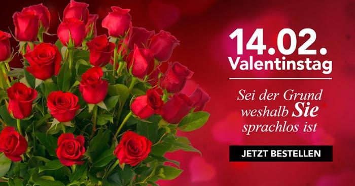 Blumen zum Valentinstag mit Gutschein