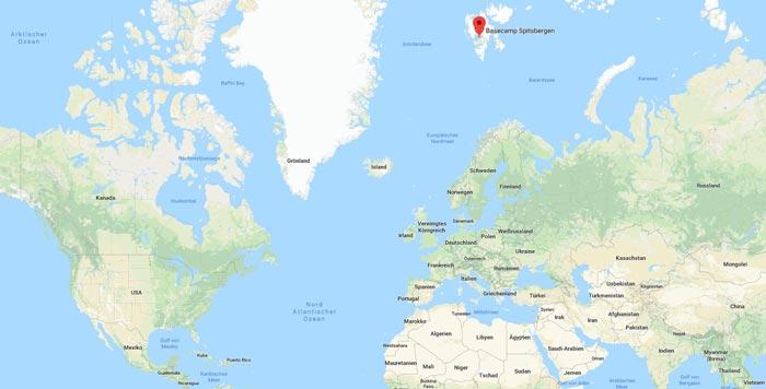 Geographische Lage Spitzbergen