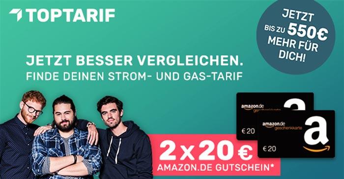 Toptarif Strom-/Gas-Wechsel 40€ Amazon Gutschein