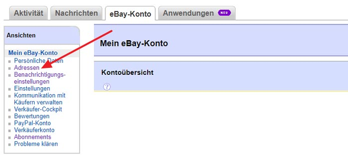 eBay Adresse ändern