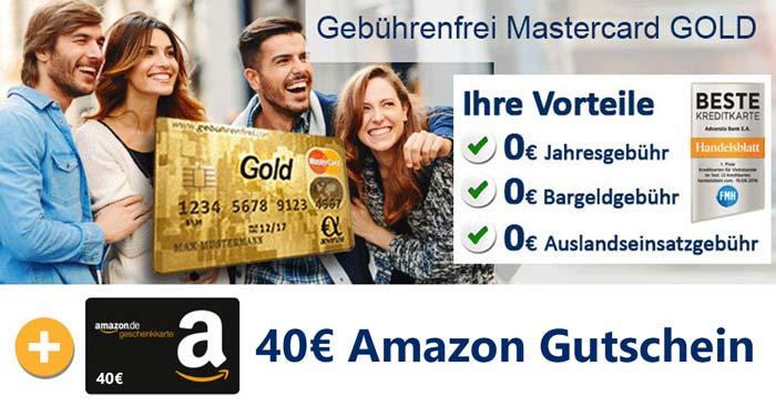 Gebührenfrei Mastercard Gold + Amazon Gutschein