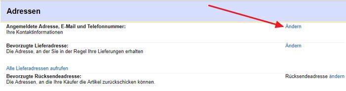 eBay Adresse auf Niederlande ändern