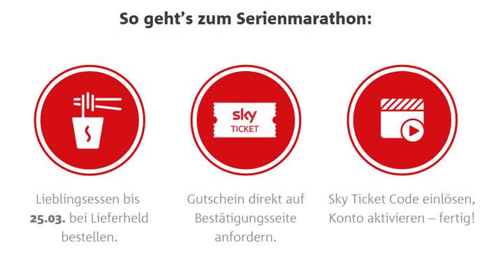 Ablauf der Lieferheld Sky Ticket Aktion