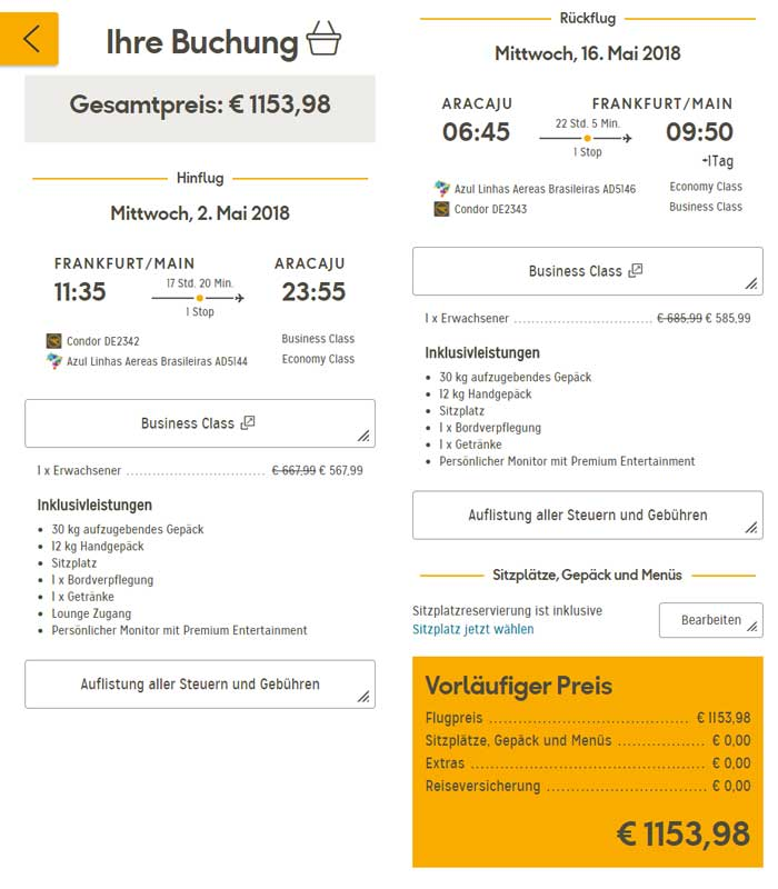Condor Business Class Sale Beispiel