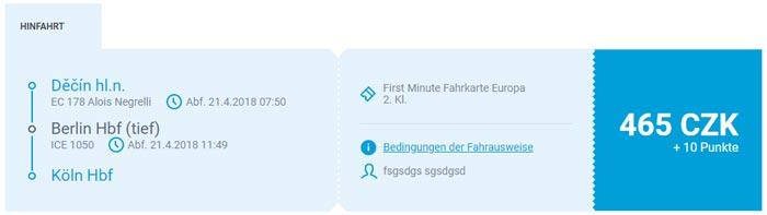 Bahnfahrt Berlin - Köln Tschechische Bahn