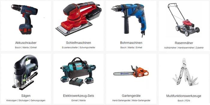eBay Heimwerker Gutschein Kategorien