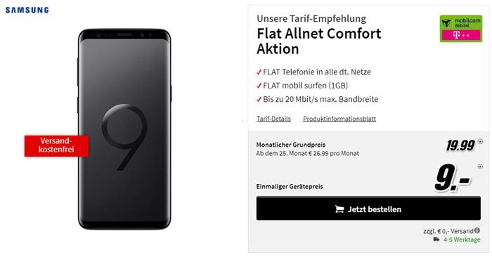 Samsung Galaxy S9 + Telekom Comfort Allnet Tarif (Media Markt)