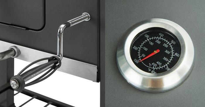 Grillmax Holzkohlegrill Thermometer + Kohlekurbel
