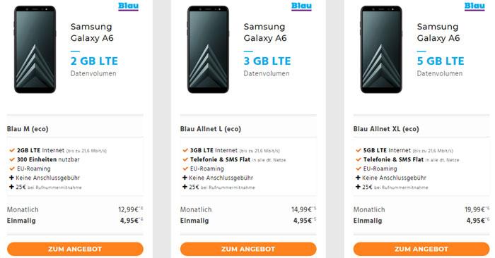 Samsung Galaxy A6 + Blau Allnet L Tarif