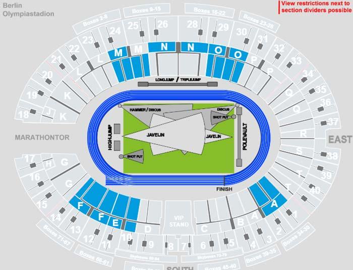 Leichtathletik EM Olympiastadion Berlin Sitzplätze