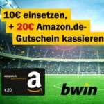 bwin Bonus-Deal: 10€ wetten = 20€ Amazon Gutschein + Joker-Wette