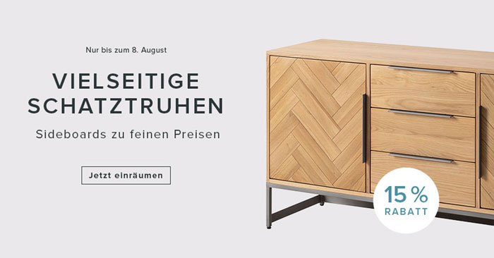 fashion for home gutschein 15 rabatt auf kommoden sideboards. Black Bedroom Furniture Sets. Home Design Ideas